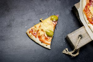 Tasty pizza  with spices and olives
