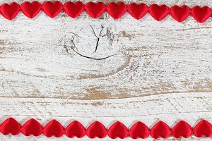 Heart Sharped Border on Rustic Wood