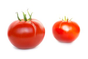 Two red fresh tomatoes