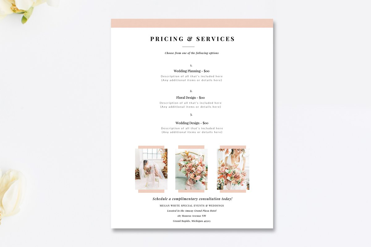 Wedding Planner Price List Psd