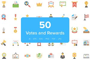 50 Vote and Rewards Flat Icons