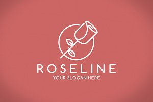 Rose Line Logo Template
