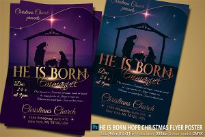 He Is Born Hope Christmas Flyer Post