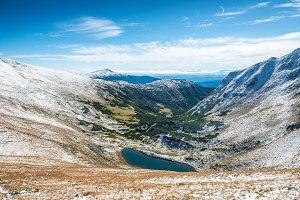 Beautiful lake in the winter mountai