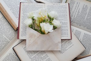 Vintage Books & Envelope Flatlay