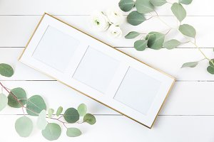 Three Square Gold Frame Stock Image