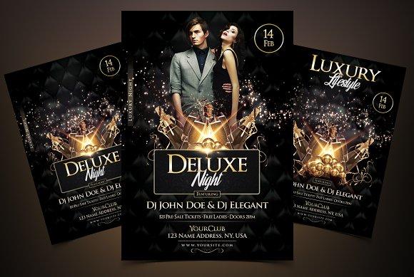 deluxe night luxury elegant flyer flyer templates creative market