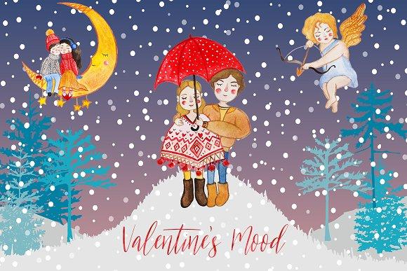 Valentine's mood watercolor set