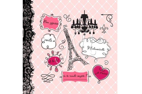 12 Paris Frames clip art, backgroun…