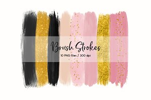 Brush Strokes ClipArt (Pink & Black)