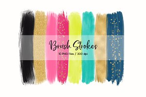 Brush Strokes Clip Art (Pink & Gold)