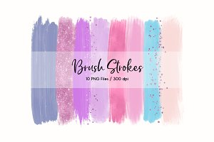 Brush Strokes Clip Art (Purple)