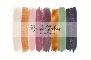 Brush Strokes Clip Art (Copper)
