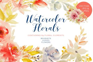 69 Watercolor Florals Bundle
