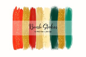 Brush Strokes Clip Art (Christmas)
