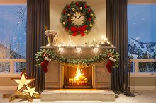 Christmas interior with a fireplace