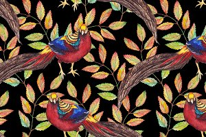 Watercolor pheasant seamless pattern