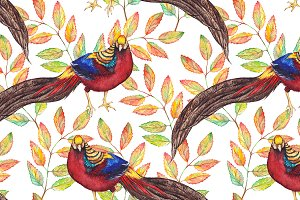Watercolor pheasant seamless pattern