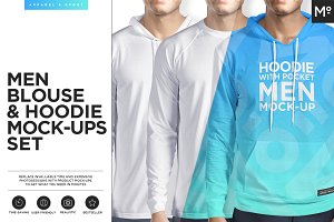Men Hoodie & Blouse 3 Types Mock-ups