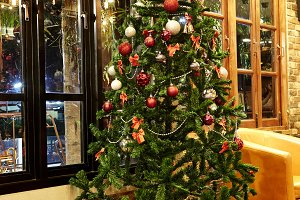 Christmas tree decorations in the ho