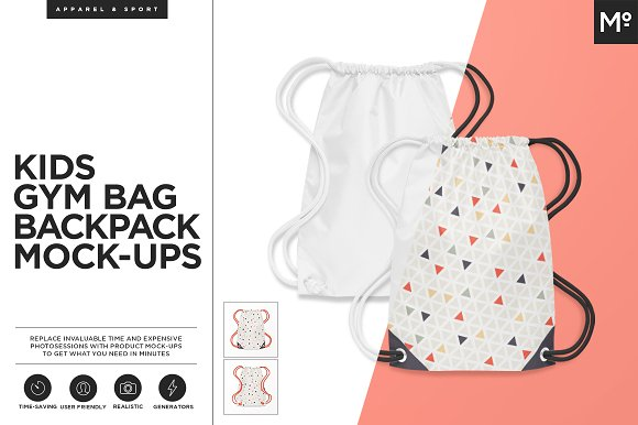 Kids Gym Bag / Backback Mock-ups