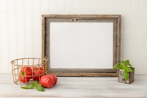 Tomato Basil with Barn Wood Frame