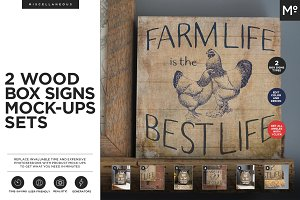 2 Wood Box Signs Mock-ups Generators