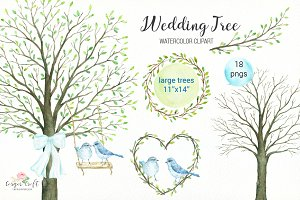 Wedding Tree Watercolor Clipart