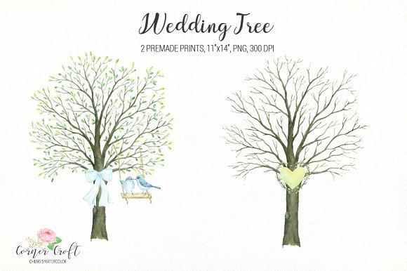 wedding tree watercolor clipart illustrations creative market