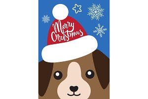 Merry Christmas Cover with Dog in Santa Claus Hat