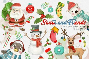 Watercolor Christmas Santa Clipart