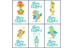 Merry Christmas Set of Bright Festive Postcards
