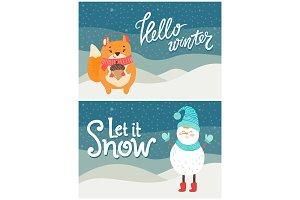 Hello Winter Let it Snow Postcard Snowman Squirrel