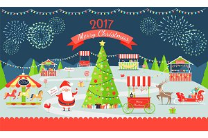 Merry Christmas Market on Vector Illustration