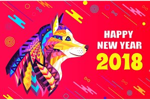 Happy New Year 2018 Creative Poster with Dog Head