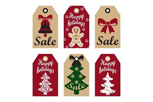 Happy Holidays Sale Promo Labels Christmas Symbols
