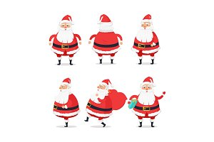 Different Sides of Santa Claus on White Background