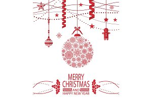 Merry Christmas Happy New Year Cover Design Poster