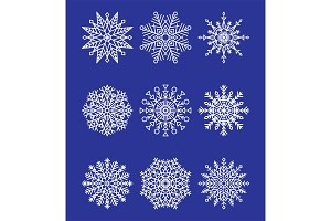 Snowflakes Collection on Blue Vector Illustration