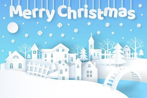 Merry Christmas Poster with City Vector Illustration