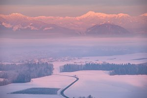 Winter morning with mist