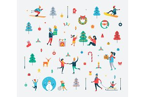 New Year Pattern of People and Holiday Symbols