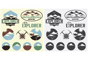 Set of labels for adventure industry