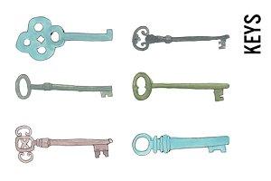 Doodle Skeleton Keys Clip Art