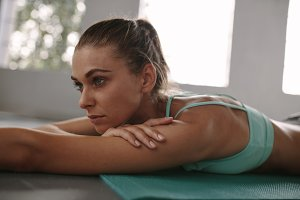 Fit young woman taking rest