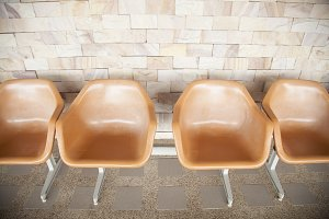 Orange plastic chair