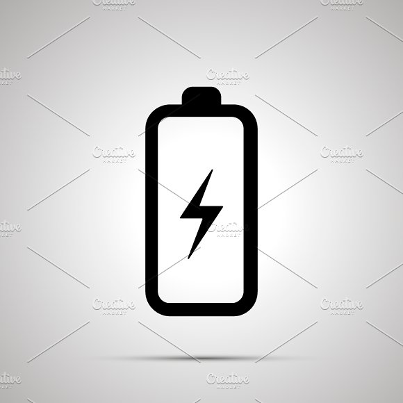 Battery with electricity symbol icon ~ Icons ~ Creative Market
