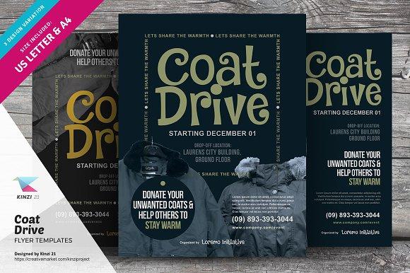 Coat Drive Flyer Templates Flyer Templates Creative Market