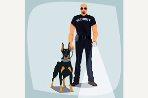 Security officer with guard dog