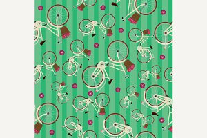 Seamless striped pattern bicycles